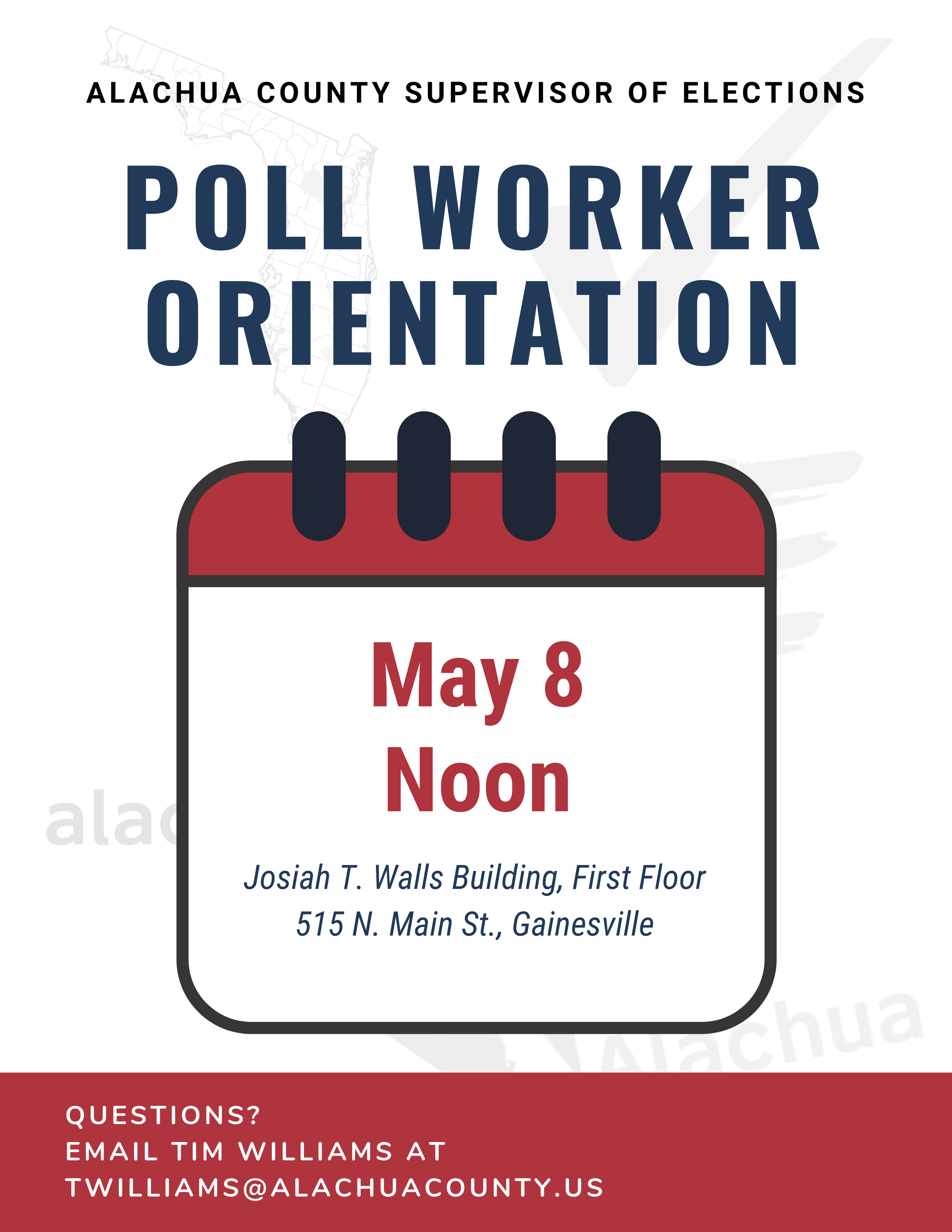 Poll Worker Orientation: May 8 at Noon